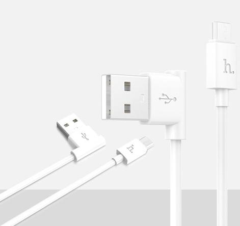Cablu Date Si Incarcare Hoco Upm10 L-shaped (forma L) Microusb La Usb Alb