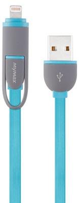 Cablu De Date Mymax Fashion Lighting & Micro Usb 2 In 1 Albastru Deschis Blister