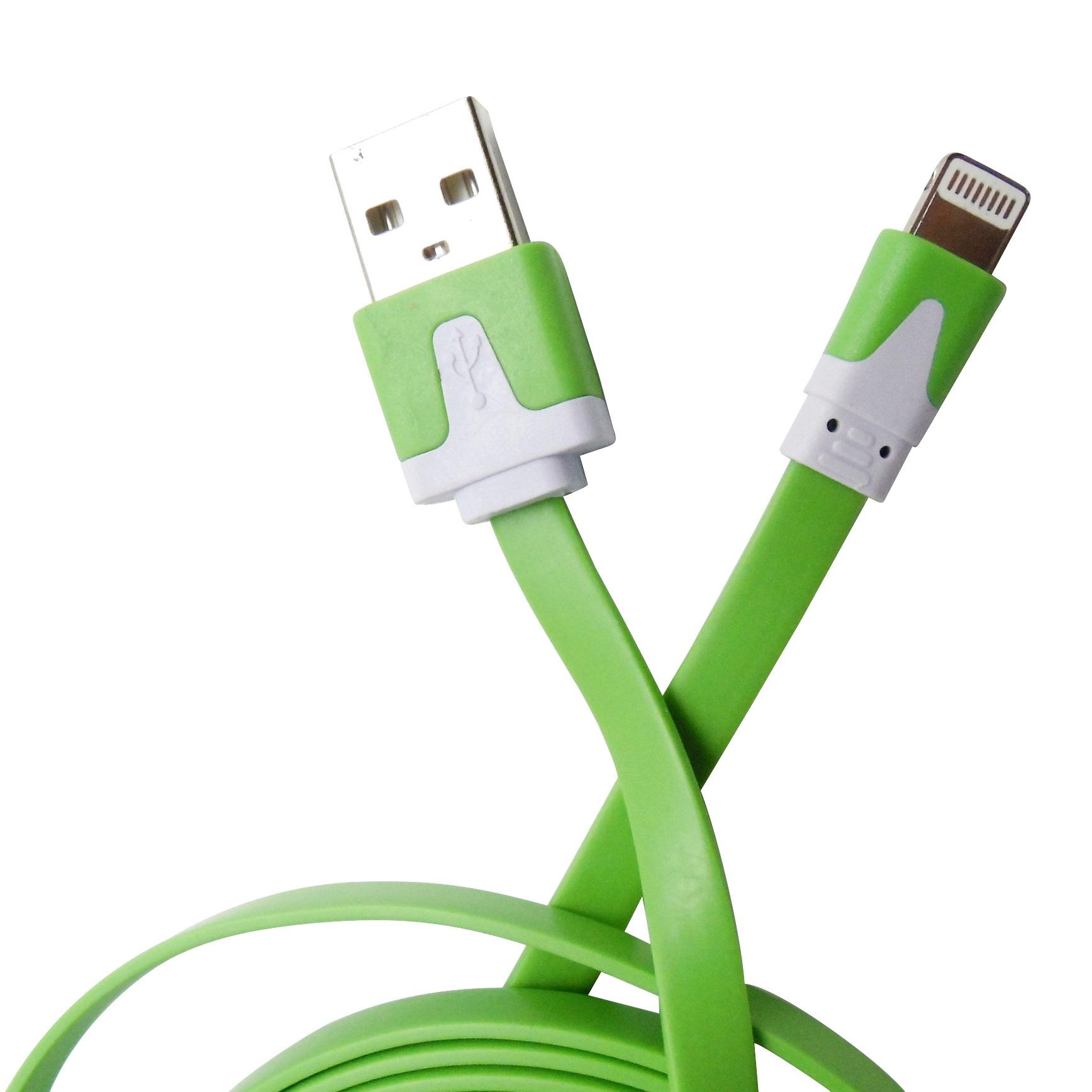 Cablu date si incarcare plat, mufa Lightning la USB 2.0, 3 metri, verde pentru Apple iPhone 5/5S/5C/SE/6/6S/6plus/6Splus/7/7plus/iPad/iPod