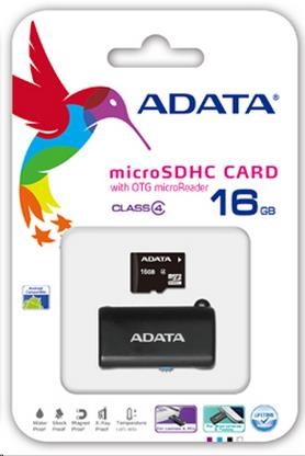 Card Memorie Adata Microsdhc 16gb Clasa 4 Uhs-i Speed Otg Clasa 10 Otg Micro Reader Negru