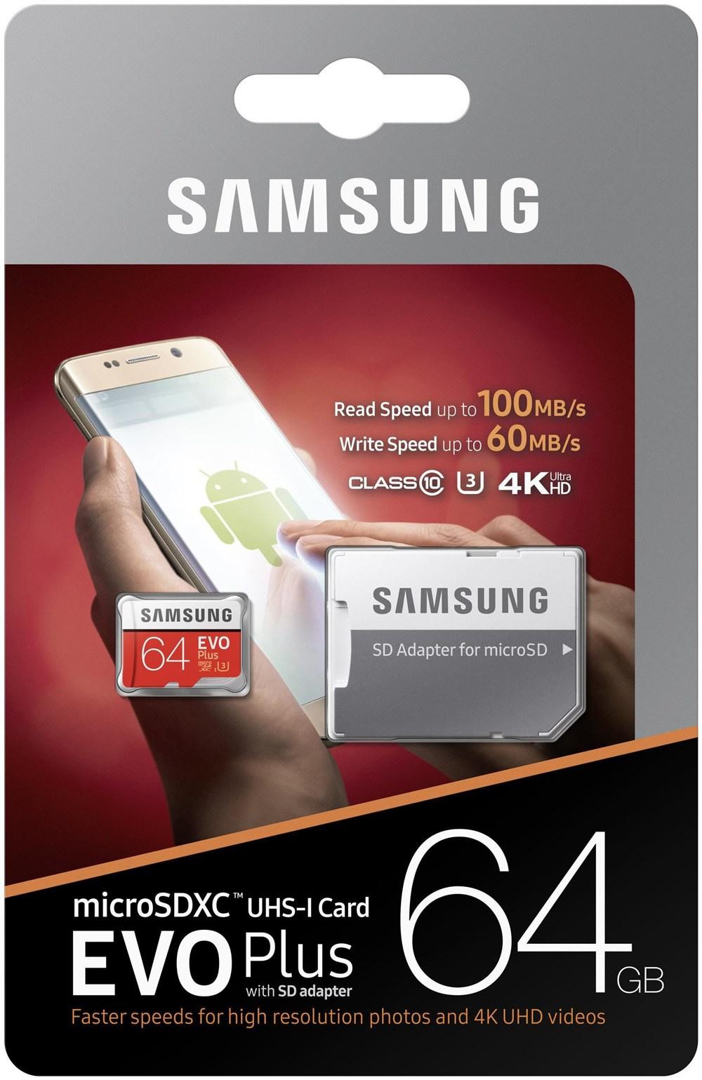 Card memorie Samsung microSDHC Evo+ 2017 MB-MC64GA/EU 64 GB clasa 10 UHS-1 + adaptor