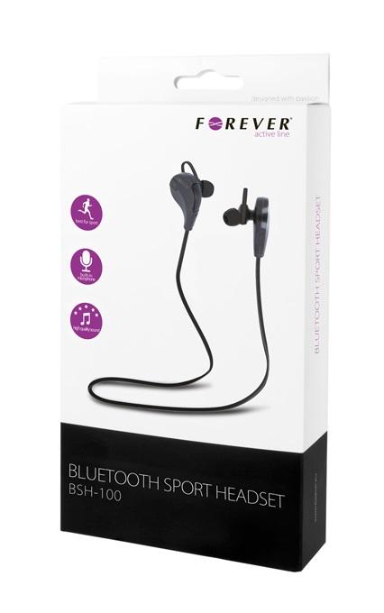 Casti Bluetooth Forever Sport BSH-100 stereo cu microfon, negre