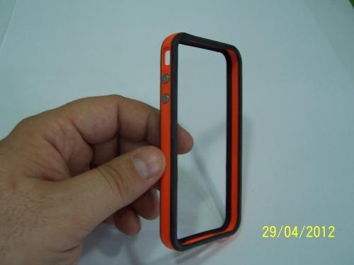 Husa Bumper Negru Cu Portocaliu Pentru Telefon Apple Iphone 4