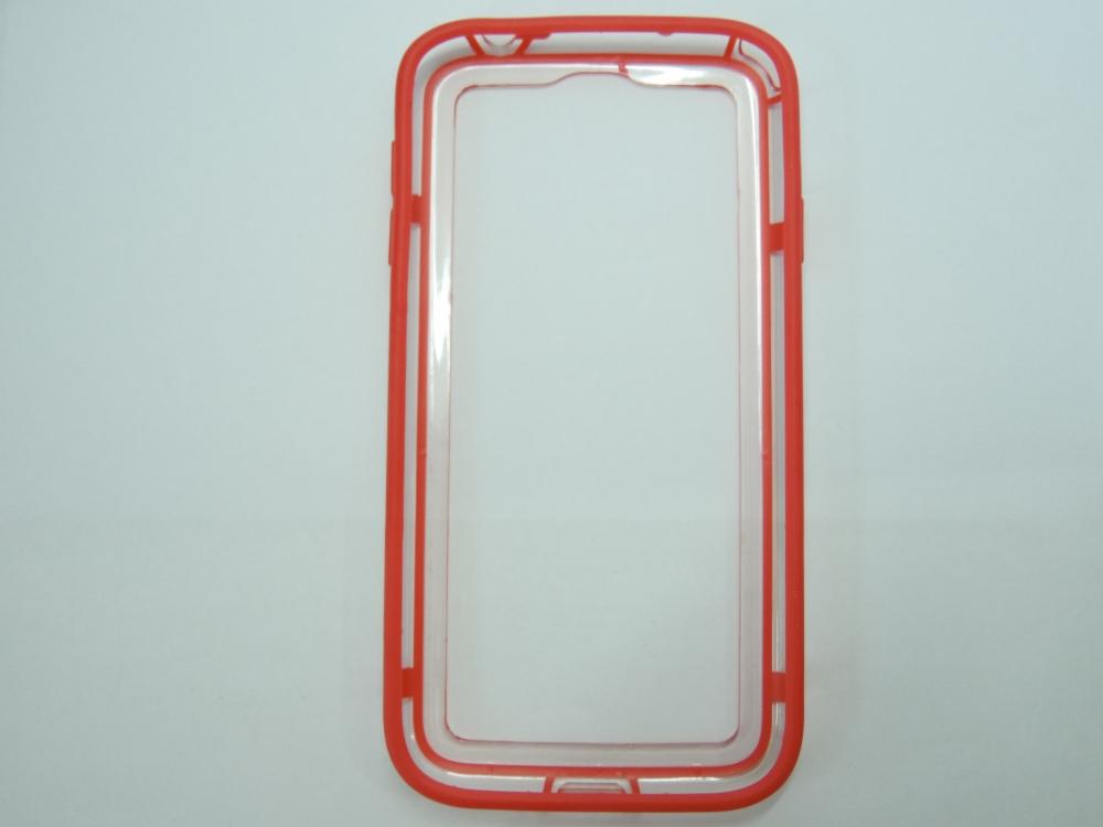 Husa Bumper Plastic Transparent + Silicon Rosu Pen