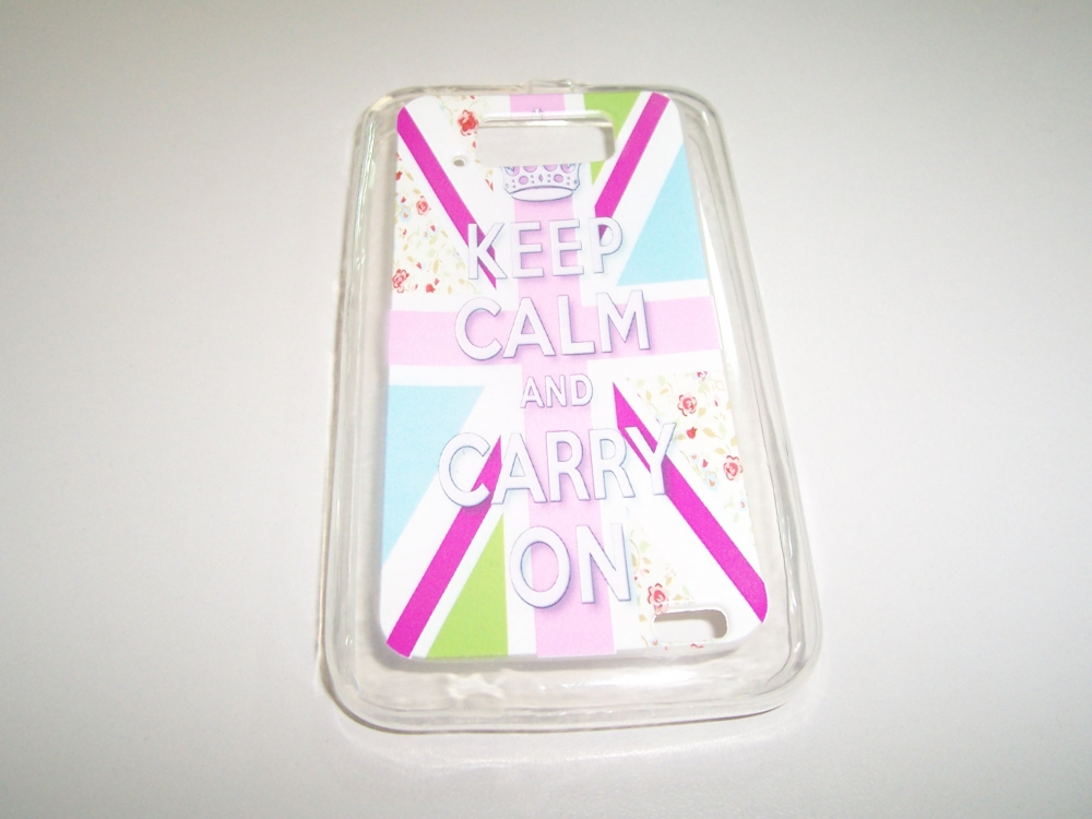 Husa Silicon (model Keep Calm And Carry On) Pentru