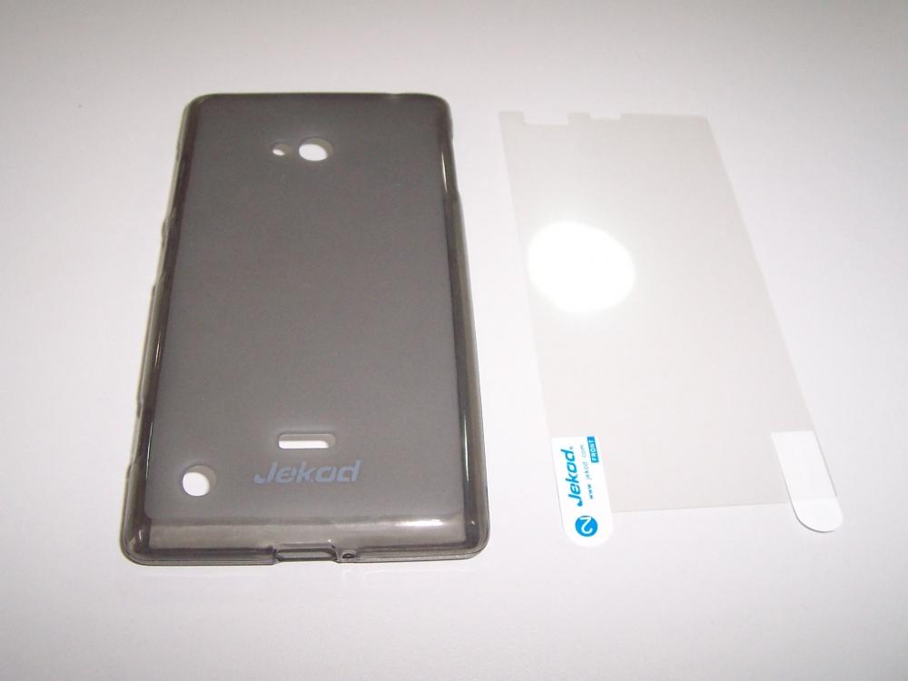 Husa Silicon Tpu Gri (+folie) Jekod Pentru Telefon Nokia Lumia 720