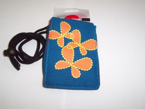 Husa Telone Textila Albastra Cu Flori Pentru Telef