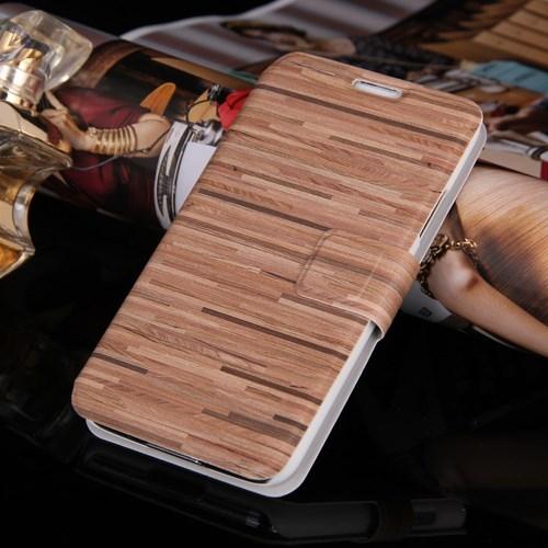 Husa Tip Carte Cu Stand Maro (wood Grain) (mlc) Pe