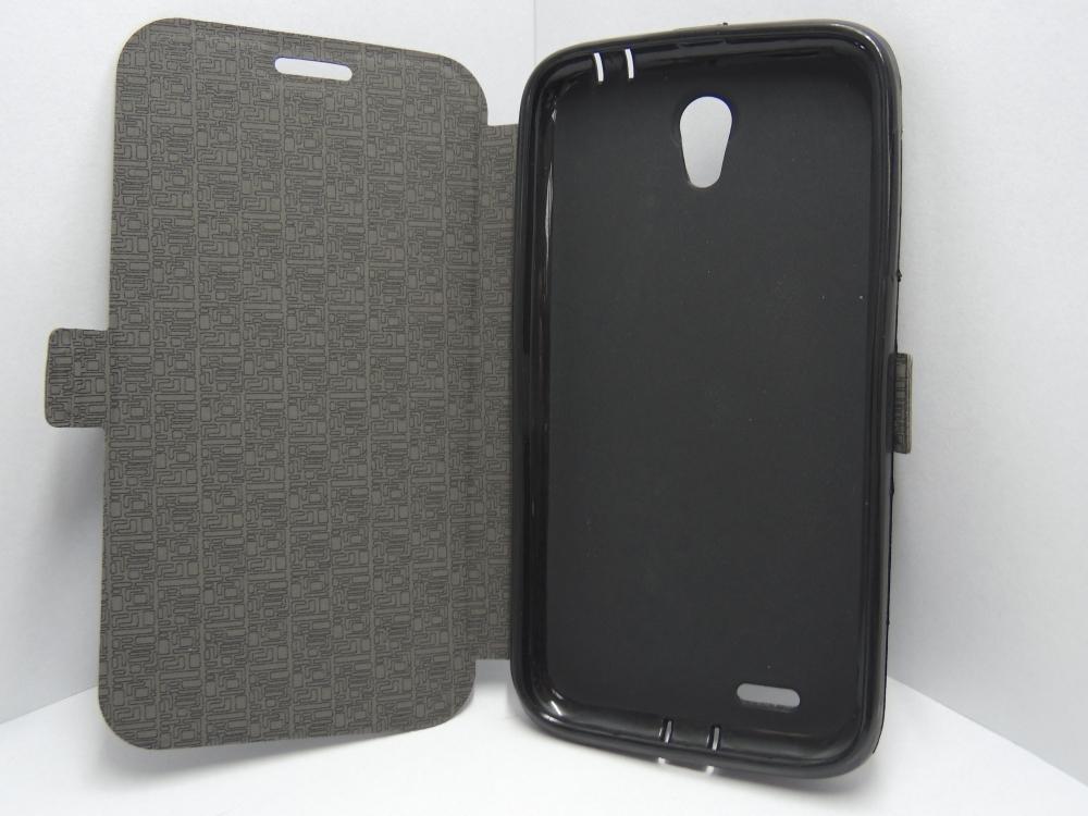 Husa Tip Carte Cu Stand Neagra (cu Decupaj Casca) Pentru Telefon Lenovo A859