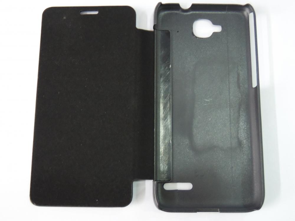 Husa Tip Carte Neagra (cu Decupaj Casca) Pentru Telefon Orange Hiro (alcatel Idol Mini Ot-6012)