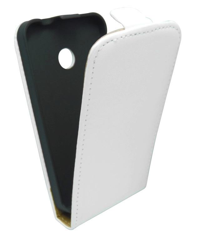 Husa flip alba Sligo Elegance (aspect piele/interior bej) pentru Nokia Lumia 530