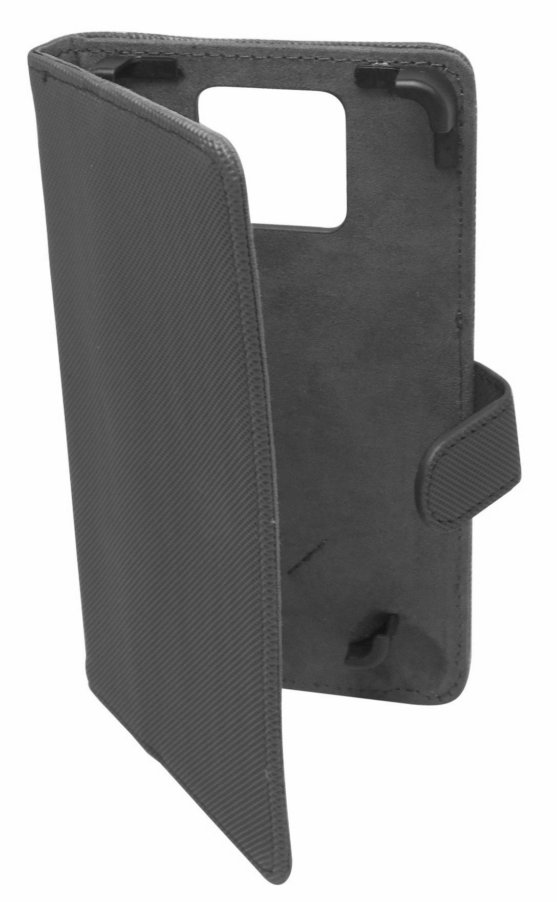 Husa universala GreenGo Smart neagra (reglabila) cu stand pentru telefoane cu diagonala de 5,2 - 5,5 inch