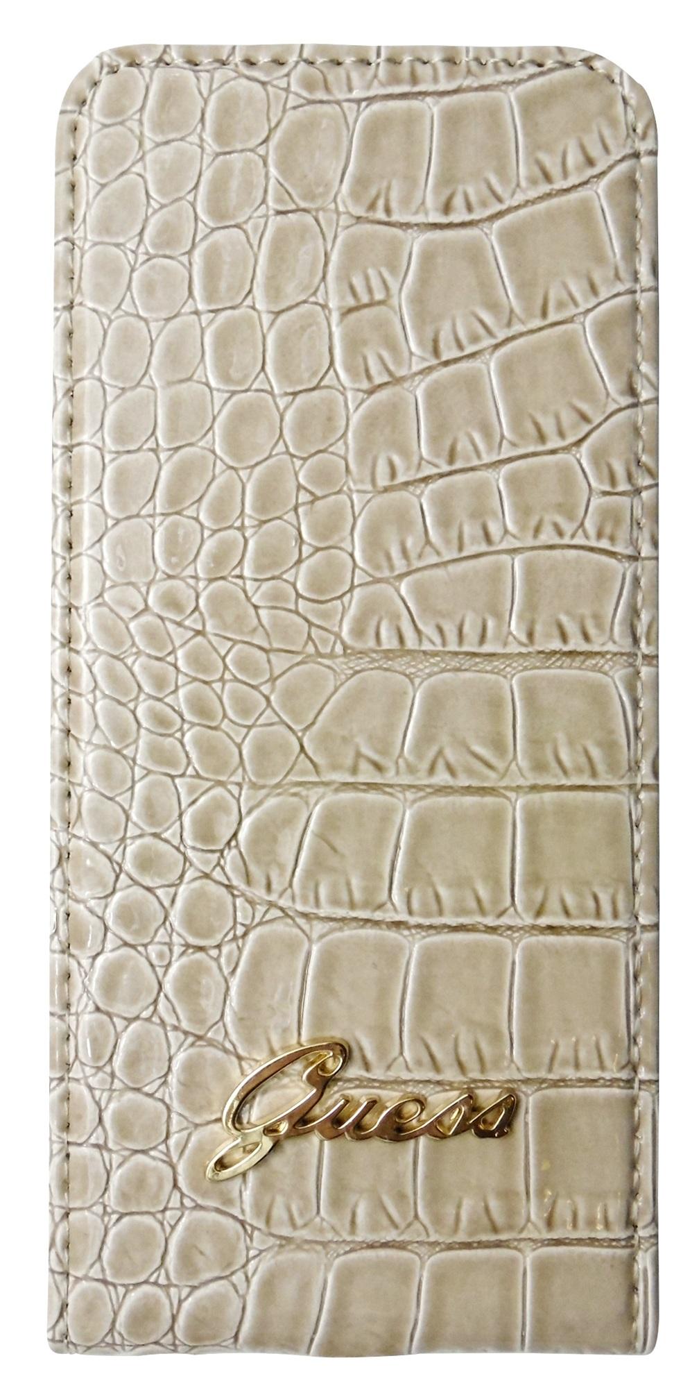 Husa Guess flip slim bej imitatie piele crocodil pentru Apple iPhone 5/5S/SE