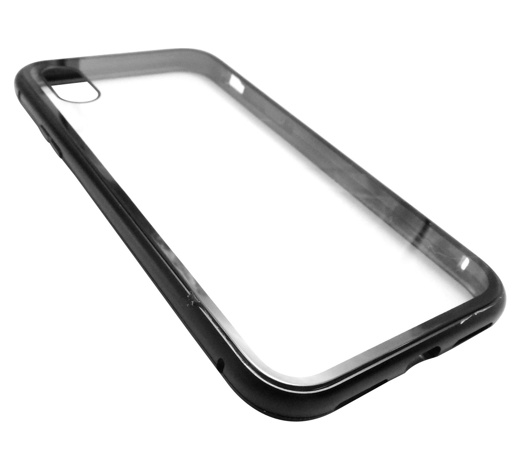 Husa Magneto neagra tip capac spate metal cu magnet + spate sticla securizata pentru Apple iPhone X/XS