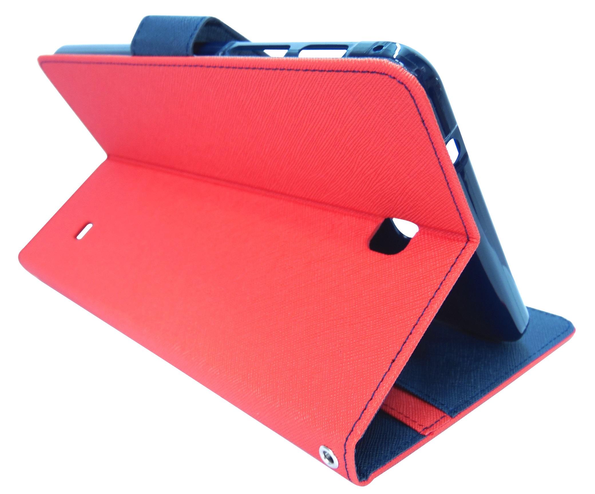 Husa tip carte Mercury Goospery Fancy Diary rosu + bleumarin pentru Samsung Galaxy Tab 4 8.0 (SM-T330), Tab 4 8.0 LTE (SM-T335)