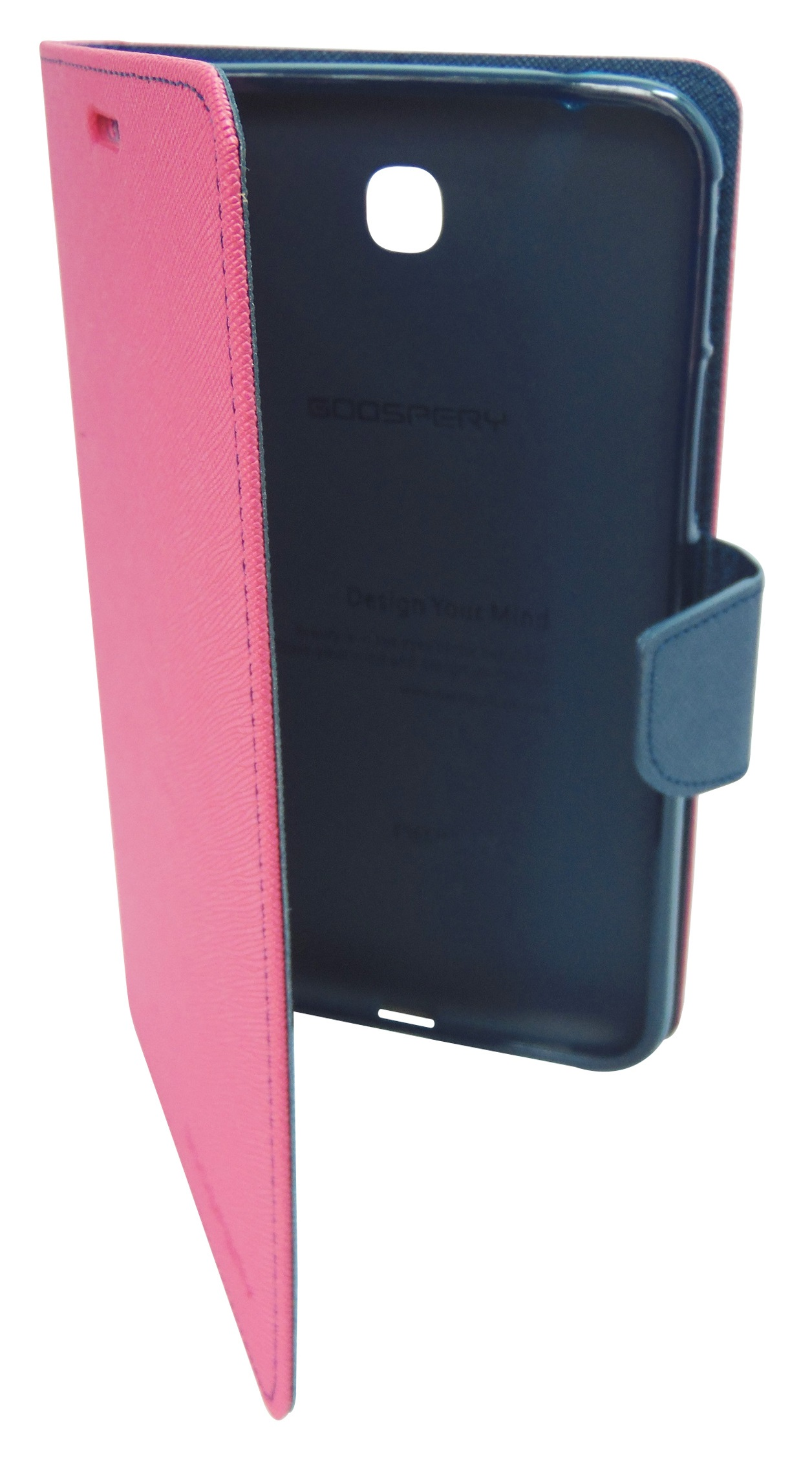 Husa tip carte Mercury Goospery Fancy Diary roz + bleumarin pentru Samsung Galaxy Tab 3 P3200 (SM-T211) / P3210 (SM-T210)