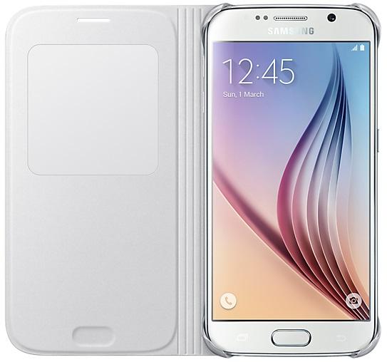 Husa tip carte S-View Samsung EF-CG920PWEGWW alba pentru Samsung Galaxy S6 (SM-G920)