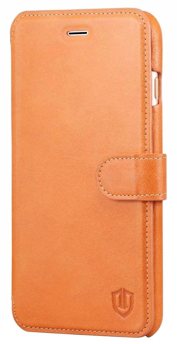 Husa tip carte cu stand Shieldon Slim Clasp piele naturala maro deschis pentru Apple iPhone 7 Plus / 8 Plus