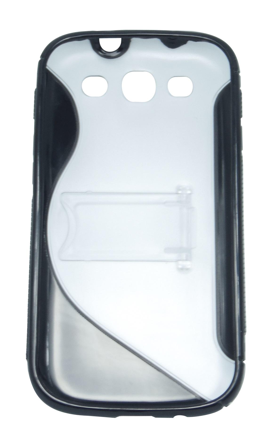Husa silicon S-line negru+transparent cu stand pentru Samsung Galaxy S3 i9300 / Galaxy S3 LTE i9305