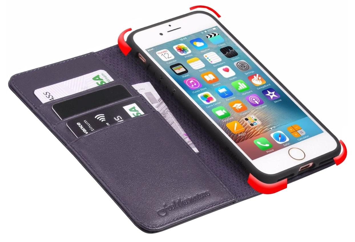 Husa tip carte cu stand Shieldon piele naturala mov pentru Apple iPhone 7/8