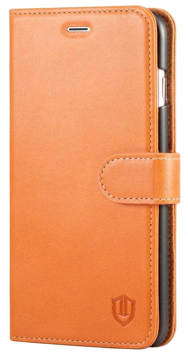 Husa tip carte cu stand Shieldon Single Clasp (inchidere simpla) piele naturala maro deschis pentru Apple iPhone 7 Plus / 8 Plus