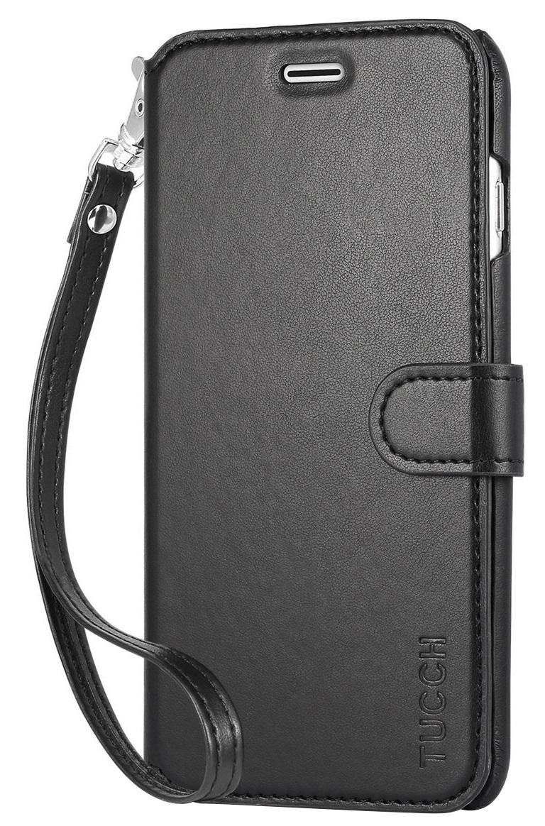 Husa tip carte cu stand Tucch neagra + folie sticla pentru Apple iPhone 6 Plus/6s Plus