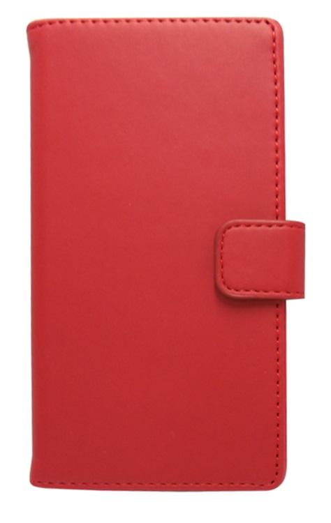 Husa tip carte cu stand universala reglabila (Modern) rosie pentru telefoane cu diagonala de 4 - 4,5inch