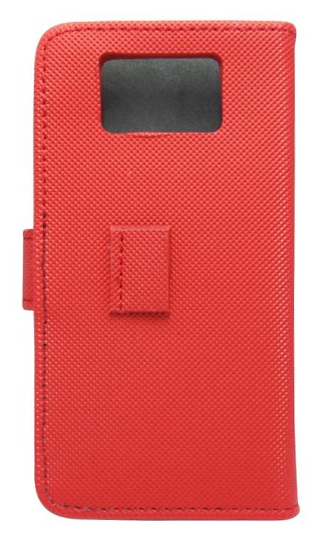 Husa tip carte cu stand universala reglabila rosie pentru telefoane cu diagonala de 4inch