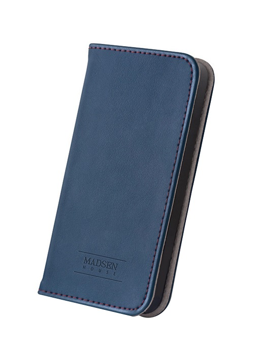 Husa tip carte cu stand Madsen House piele naturala bleumarin + folie sticla pentru Apple iPhone 6/6S