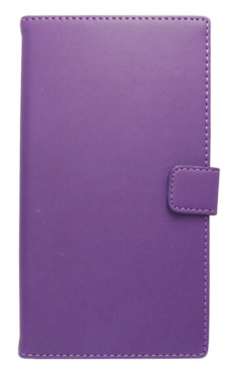 Husa tip carte cu stand universala reglabila (Modern) mov pentru telefoane cu diagonala de 5,2 - 5,8 inch