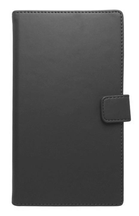 Husa tip carte cu stand universala reglabila (Modern) neagra pentru telefoane cu diagonala de 5,2 - 5,8 inch