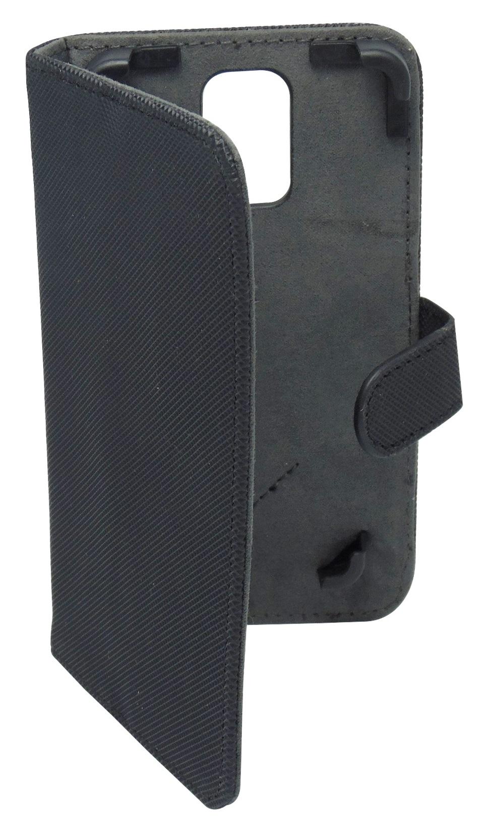 Husa universala GreenGo Smart neagra (reglabila) cu stand pentru telefoane cu diagonala de 4,5 - 5 inch