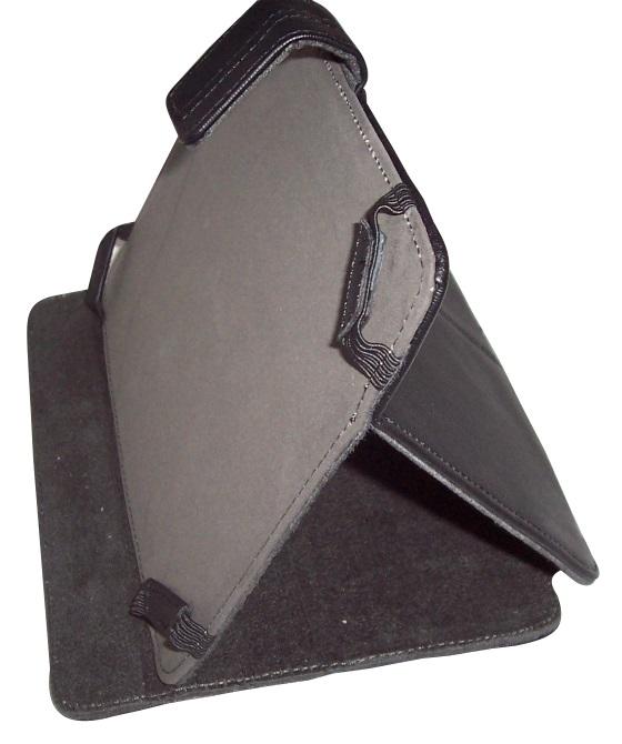 Husa universala neagra (interior din piele) cu stand pentru tablete de 8 inch
