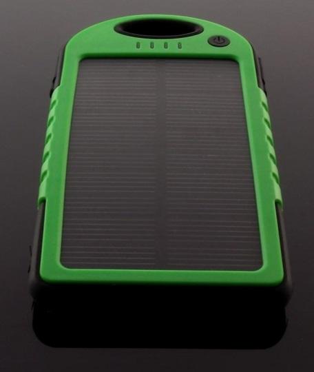 Incarcator Mobil De Urgenta Power Bank 5000 Mah Cu Panou Solar 1.2w Negru + Verde