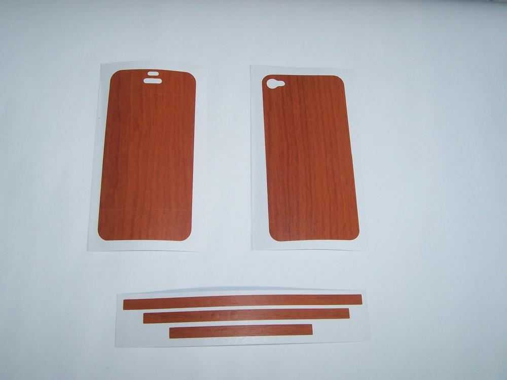 Sticker FitCase lemn pentru telefon Apple iPhone 4